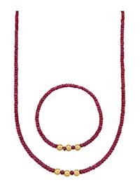 Halsband & armband med rubiner