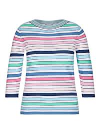 Pullover mit Streifen-Muster und U-Boot-Ausschnitt