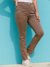Jeans met decoratieve studs aan de zoom