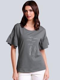 Shirt met strasmotief