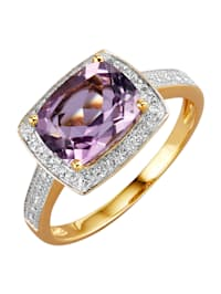 Damesring met gekleurde stenen en diamanten