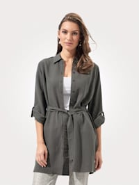 Longline blouse made from a lightweight fabric