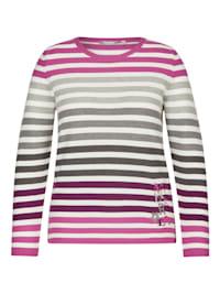 Pullover mit gestreiftem Muster und Letter-Stickerei