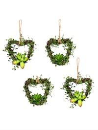 Set van 4 hartvormige hangers