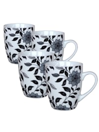 Kaffeebecher Schwarz Weiß, 4 Stück Flowers