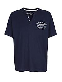 Henley tričko s potlačou na prednom diele