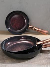 Batterie de cuisine à bord haut, 3 pièces 'Ceraflon Diamant Excellent', édition coloris or rose Ø 20, 24 & 28 cm
