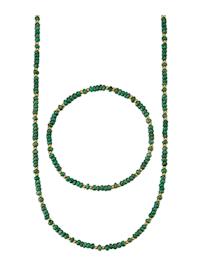 Halsband & armband med smaragder