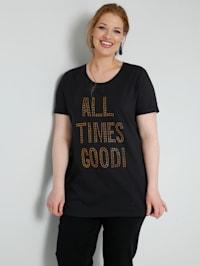 T-shirt à inscription mode en pierres fantaisie