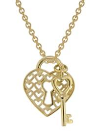 Anhänger Schloss &amp  Schlüssel Gold 333 + vergoldete Silberkette