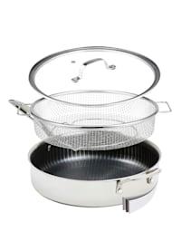 """Poêle 3 pièces Livington """"Titan Pan"""", avec couvercle en verre et panier à frire/vapeur, ø 28 cm"""