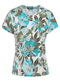 Rundhalsshirt mit exotischem Blumenprint