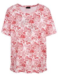 Tričko celoplošný květinový potisk
