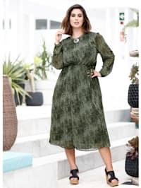 Maxi-jurk met rokgedeelte van plissé