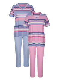 Pyjamaser i 2-pk i tidløst stripemønster