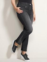 Jeans met versiering op de pijpen
