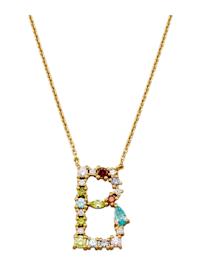 Halsband med bokstavshänge – B med cubic zirconia i flera olika färger