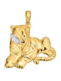 Hänge – tiger av guldfärgat silver