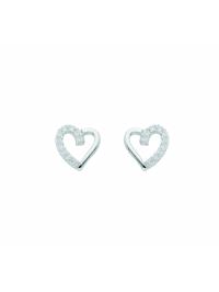 Damen Silberschmuck 925 Silber Ohrringe / Ohrstecker Herz mit Zirkonia