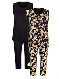 Pyjama's per 2 stuks met bloemendessin