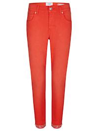Ankle-Jeans 'Ornella Fancy' mit Glitzerapplikationen am Saum