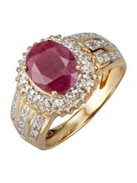 Diamantring med rubin