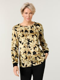 Pull-on blouse with a subtle shimmer