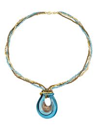 Pendentif avec collier en verre Murano