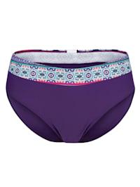 Bikini Slip mit kontrastfarbenem Bund