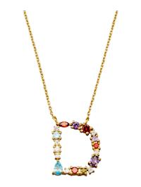 Halsband med bokstavshänge – D med cubic zirconia i flera olika färger