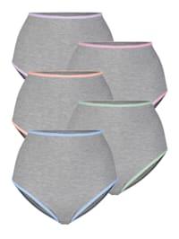 Taillenslips im 5er-Pack mit farbiger Litze