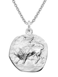 Sternzeichen Stier Ø 20 mm und Halskette 925 Silber