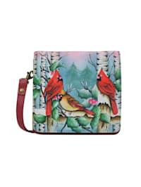 Umhängetasche Snowy Cardinal (Handbemaltes Leder)