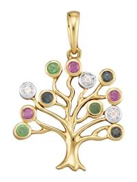 Lebensbaum-Anhänger mit Farbsteinen und Diamanten