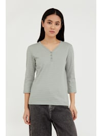 Streifenshirt - mit femininem V-Ausschnitt