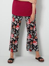 Jersey broek met bloemenprint