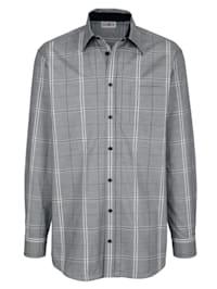 Skjorta med monokromt rutmönster