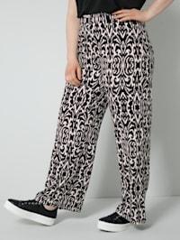 Jersey broek met wijde pijpen