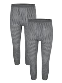 3/4-lange Unterhosen im 2er-Pack in Feinripp
