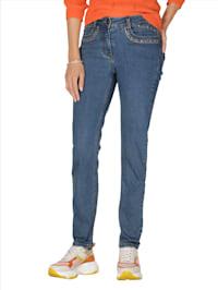 Jeans mit Steinchenzier