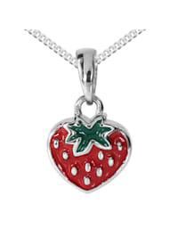 Kette mit Anhänger - Erdbeere - Silber 925/000 - ,