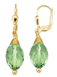 Boucles d'oreilles avec ambre verte