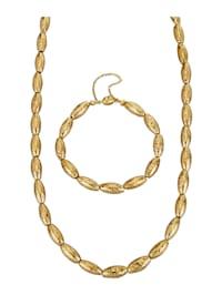Parure bijoux 2 pièces Perles de lave de forme allongée (trait.)