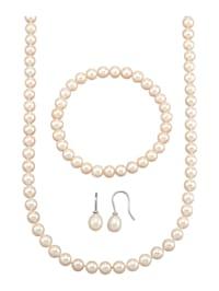 Halsband, armband & örhängen med odlade sötvattenspärlor