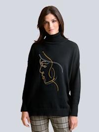 Pullover mit abstrakten Dessin im Vorderteil