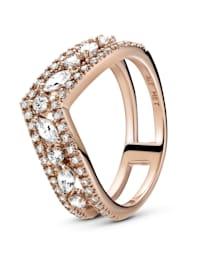 Damenring -  funkelnder doppelter Wishbone-Ring - 189095C01-52-60