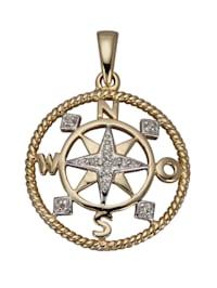 Kompass-Anhänger mit Diamanten
