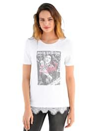Shirt met motief en kant voor