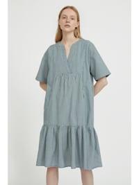 Kurzarm-Kleid mit Volant am Saum