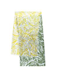 Crinkle-Schal aus reiner Seide mit Zebra-Muster